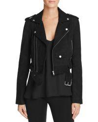 Linea Pelle - Suede Shredded Back Moto Jacket - Lyst