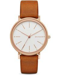 Skagen - Women's Hald Light Brown Leather Strap Watch 34mm Skw2488 - Lyst