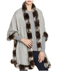 Badgley Mischka Faux Fur Trim Wrap - Grey