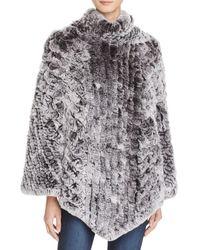 Maximilian Knit Rabbit Fur Poncho - Bloomingdale's Exclusive - Black