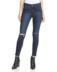 Aqua - X Maddie & Tae Distressed Skinny Ankle Jeans In Dark Indigo - 100% Bloomingdale's Exclusive - Lyst