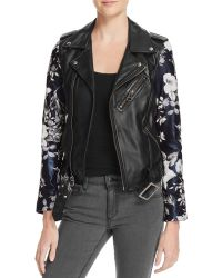 Linea Pelle - Floral-sleeve Leather Moto Jacket - 100% Bloomingdale's Exclusive - Lyst