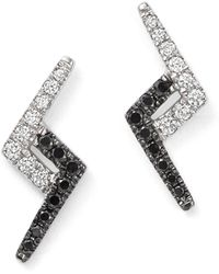 Dana Rebecca - 14k White Gold Aria Selene Lightning Bolt White And Black Diamond Earrings - Lyst