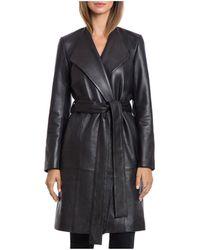 Bagatelle - .city Lamb Leather Belted Wrap Coat - Lyst