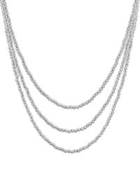Aqua Sterling Layered Sparkle Necklace - Metallic
