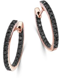 Bloomingdale's Black Diamond Inside - Out Medium Hoop Earrings In 14k Rose Gold - Multicolour