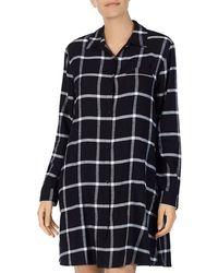 Donna Karan - Long-sleeve Short Plaid Sleepshirt - Lyst