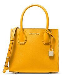 MICHAEL Michael Kors Mercer Medium Leather Messenger Bag - Yellow