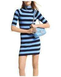 MICHAEL Michael Kors - Striped Knit Mock Turtleneck Dress - Lyst