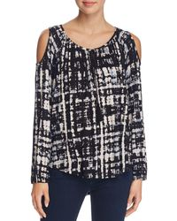 Kim & Cami Abstract Print Cold Shoulder Top - 100% Bloomingdale's Exclusive - Black