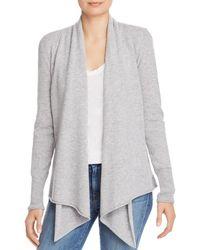 Aqua Cashmere Draped Open - Front Cashmere Cardigan - Grey