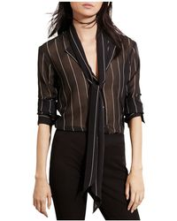 Lauren by Ralph Lauren Georgette Necktie Blouse - Black