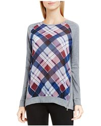 Two By Vince Camuto - Plaid Fable Mixed Media Side Zip Top - Lyst
