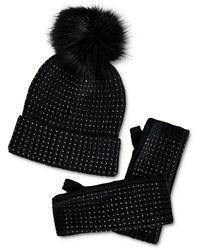 BCBGMAXAZRIA Embellished Beanie & Fingerless Gloves Set - Black