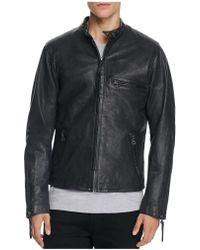 Levi's Racer Night Watch Leather Moto Jacket - Blue