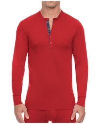 2xist Tartan Tech Long Sleeve Henley Tee - Red
