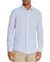 Bloomingdale's Bi - Color Linen Classic Fit Shirt - Blue