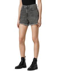 AllSaints Yanni Cut Off Denim Shorts In Washed Black