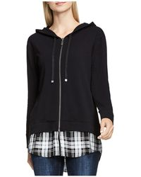 Two By Vince Camuto - Terry & Plaid Contrast Hoodie - Lyst