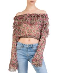 The Kooples - Ruffled Off-the-shoulder Floral Silk Top - Lyst
