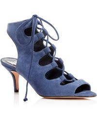 Delman - Tanna Suede Caged Lace Up Mid Heel Sandals - Lyst
