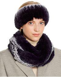 Maximilian Rabbit Fur Infinity Scarf & Headband - Blue