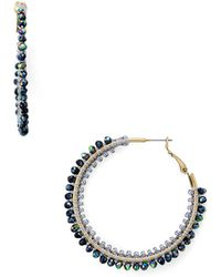 Aqua - Beaded Hoop Earrings - Lyst