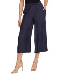 Vince Camuto Cropped Wide Leg Drawstring Trousers - Blue