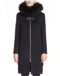 Maje Grafo Faux Fur-trimmed Coat - Black