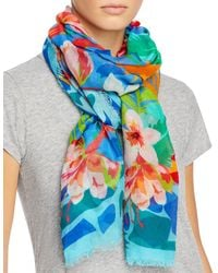 Echo Tropical Floral Wrap - Blue