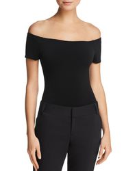 Alice + Olivia Alice + Olivia Ashlena Off - The - Shoulder Thong Bodysuit - Black