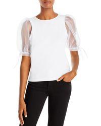 Aqua Sheer Puff - Sleeve Top - White