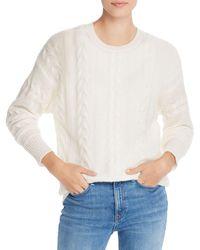 Aqua Cashmere Cable - Knit Crewneck Cashmere Sweater - White