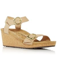 Birkenstock Papillio Soley Buckle Wedge Sandals - Natural