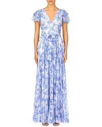 ML Monique Lhuillier Flutter Sleeve Pleated Chiffon Maxi Dress - Blue