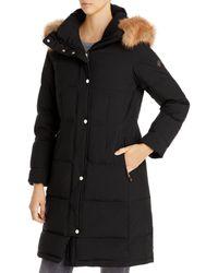 Kate Spade Faux Fur Trim Hooded Parka - Black