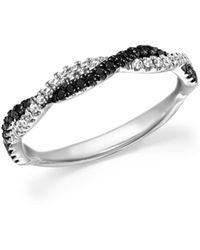 Bloomingdale's - White And Black Diamond Braided Band In 14k White Gold - Lyst