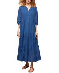 Gerard Darel Seona Tiered Maxi Shirt Dress - Blue