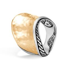 John Hardy - 18k Yellow Gold Classic Hammered Chain Wave Ring With Sterling Silver - Lyst