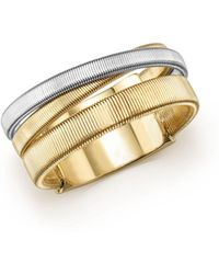 Marco Bicego | 18k White & Yellow Gold Masai Three Strand Crossover Ring | Lyst