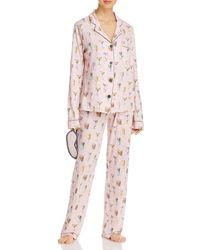 Pj Salvage Printed Pyjama Set & Sleep Mask - Pink