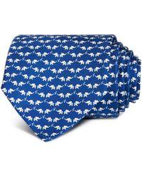 Ferragamo Elephant Print Tie - Blue