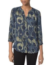 NYDJ - Notched-neck Printed Blouse - Lyst