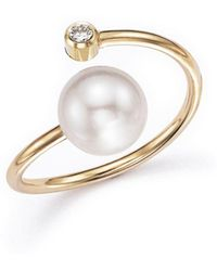 Zoe Chicco - 14k Yellow Gold Bypass Ring With Cultured Freshwater Pearls And Diamonds - Lyst