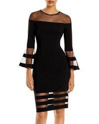Aqua Bell - Sleeve Illusion Dress - Black