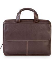 Boconi Tyler Leather Folio Briefcase - Brown