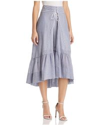 T Tahari - Irena Striped High/low Midi Skirt - Lyst