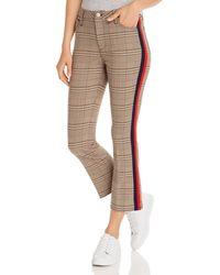 Aqua Striped - Trim Plaid Ponte Pants - Brown