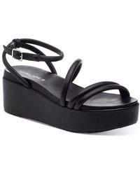J/Slides Quilt Ankle Strap Platform Wedge Sandals - Black