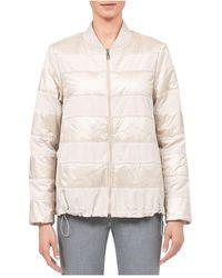 Peserico Mixed Media Puffer Jacket - Natural